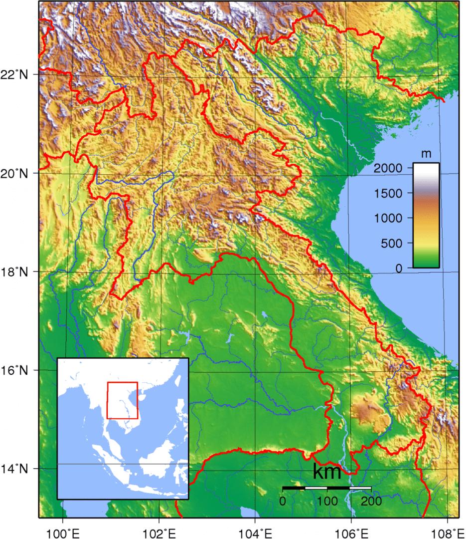 Mapa topograficzna Laosu