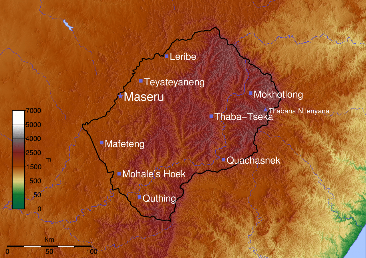 Mapa topograficzna Lesotho