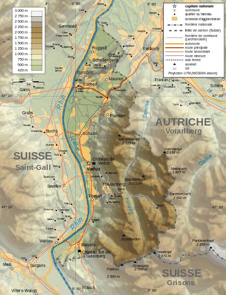 Mapa topograficzna Liechtensteinu