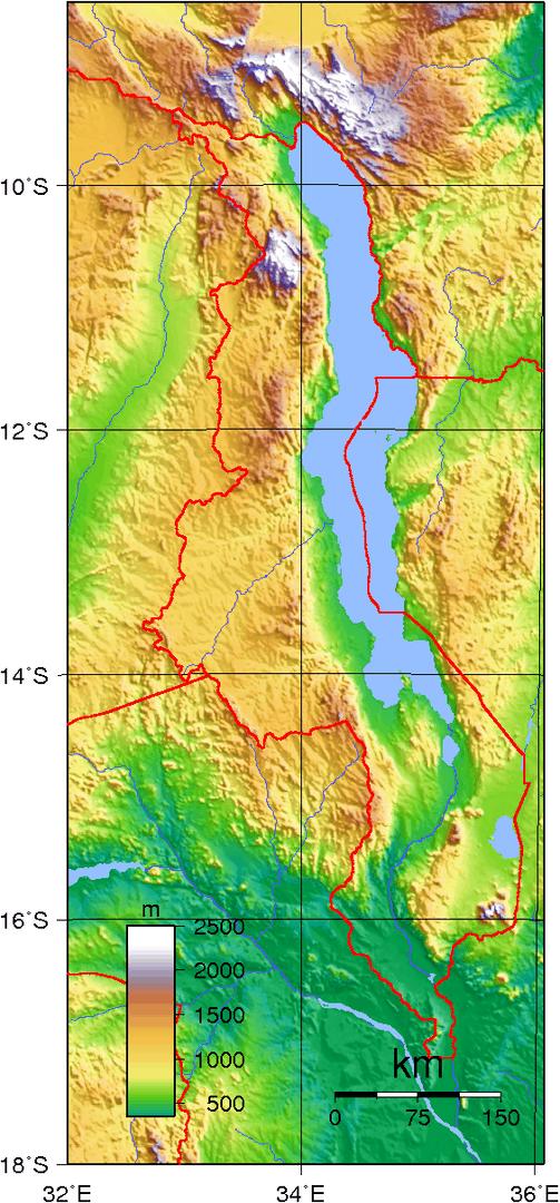 Mapa topograficzna Malawi