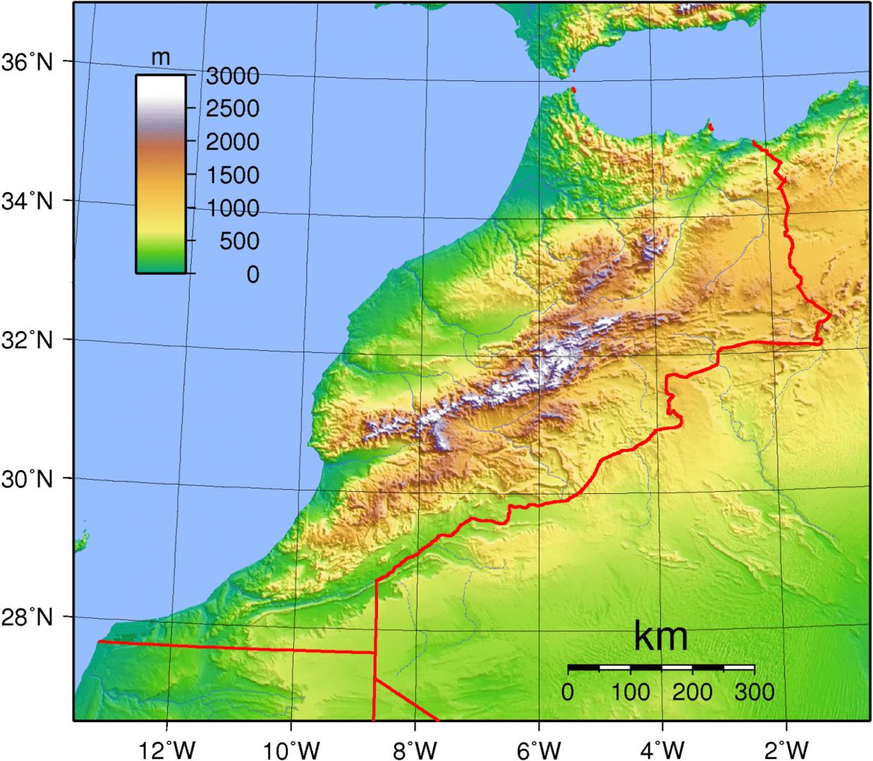 Mapa topograficzna Maroka