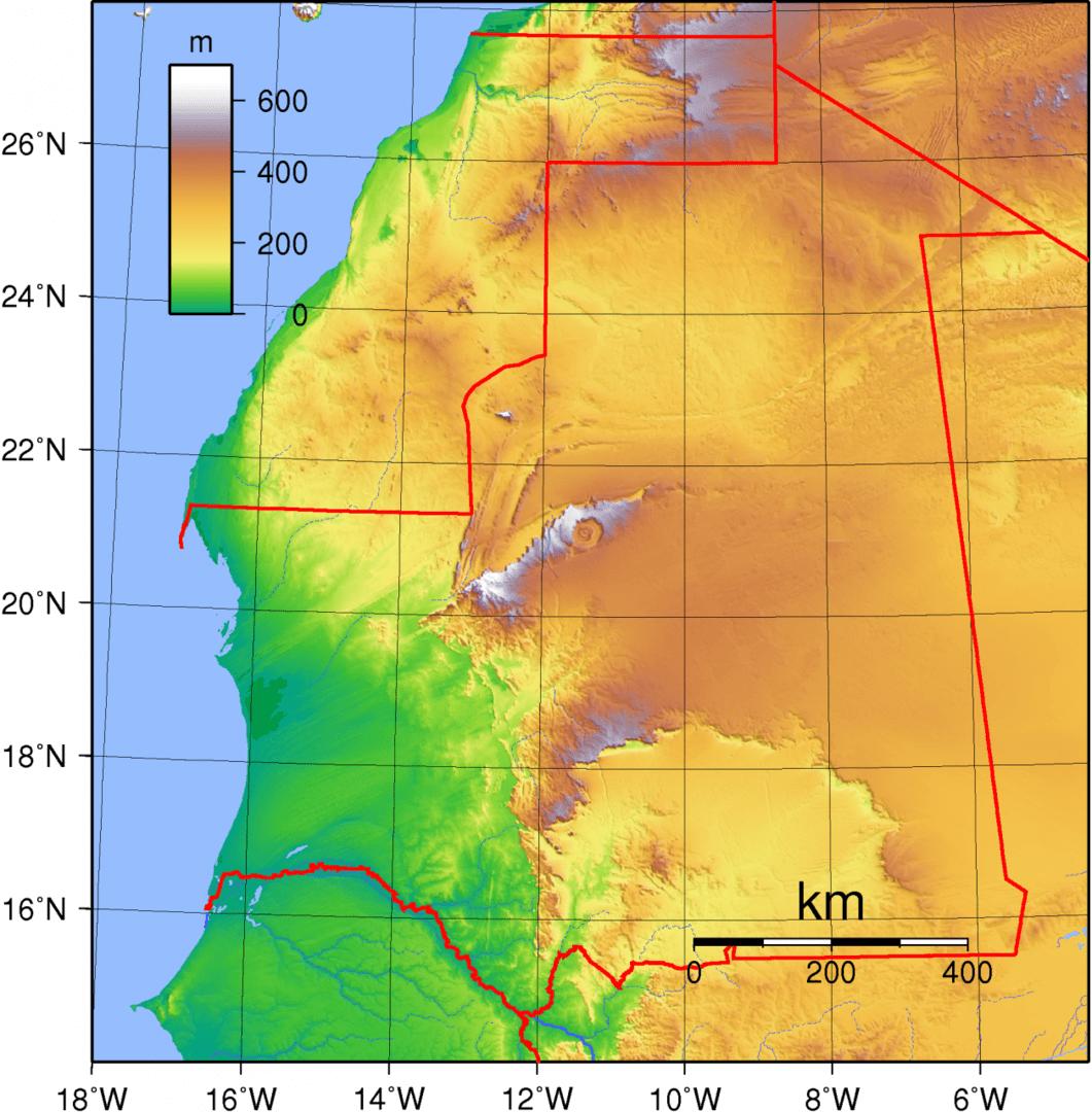 Mapa topograficzna Mauretanii