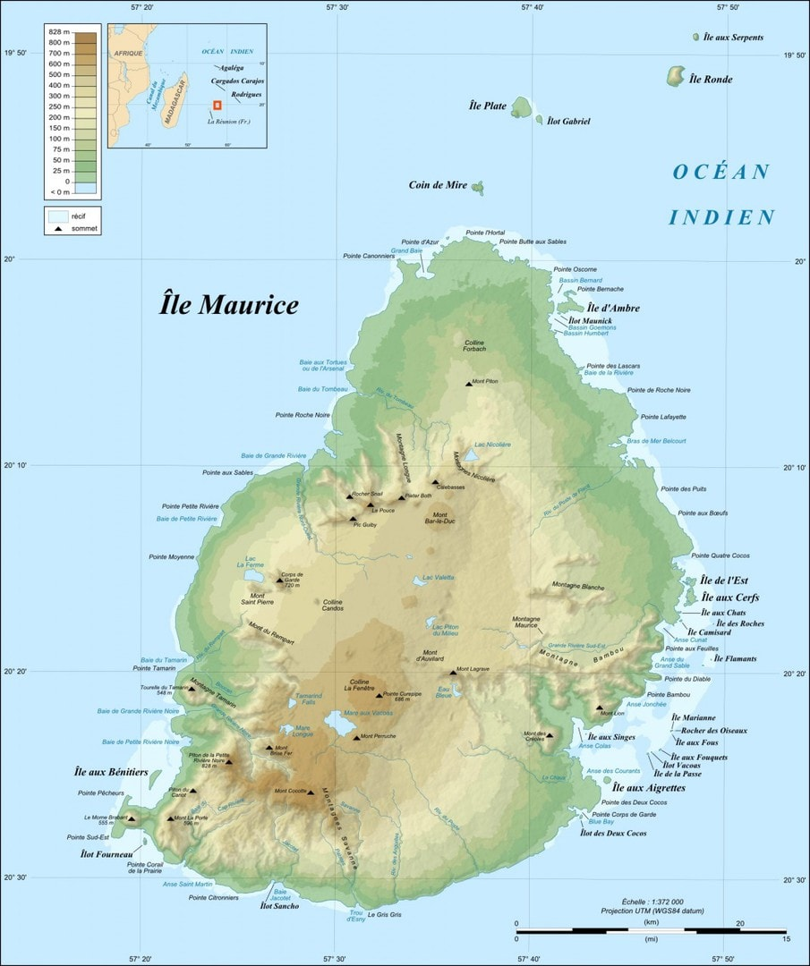 Mapa topograficzna Mauritiusa