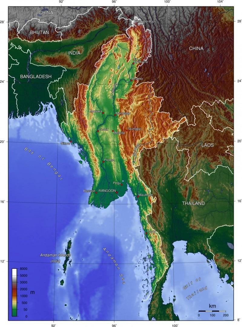 Mapa topograficzna Mjanmy