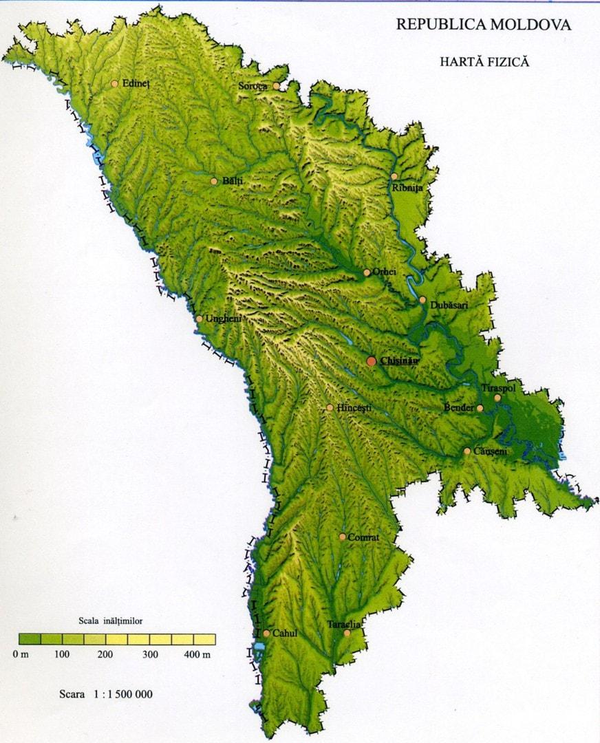 Mapa topograficzna Mołdawii