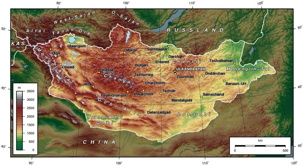 Mapa topograficzna Mongolii