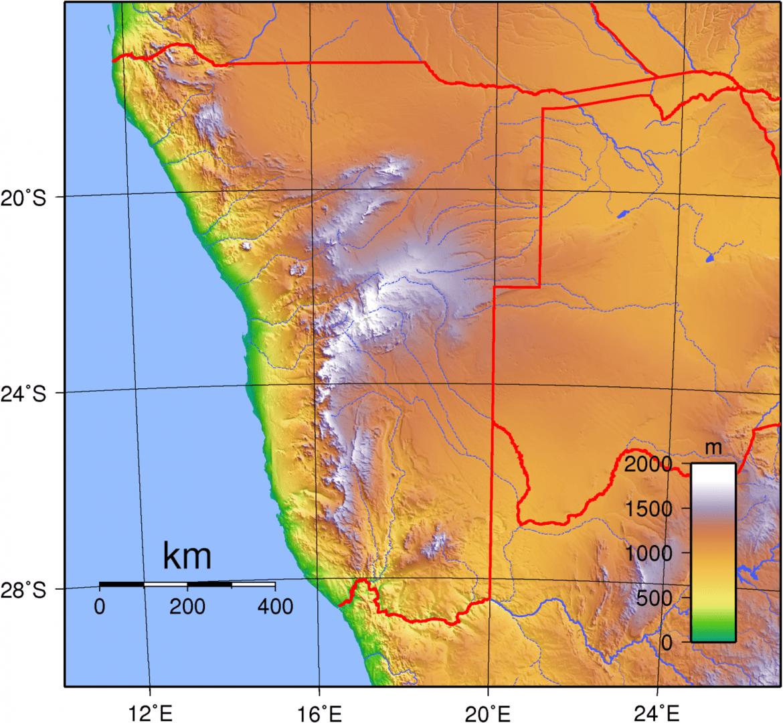 Mapa topograficzna Namibii