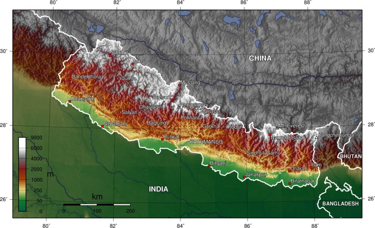 Mapa topograficzna Nepalu