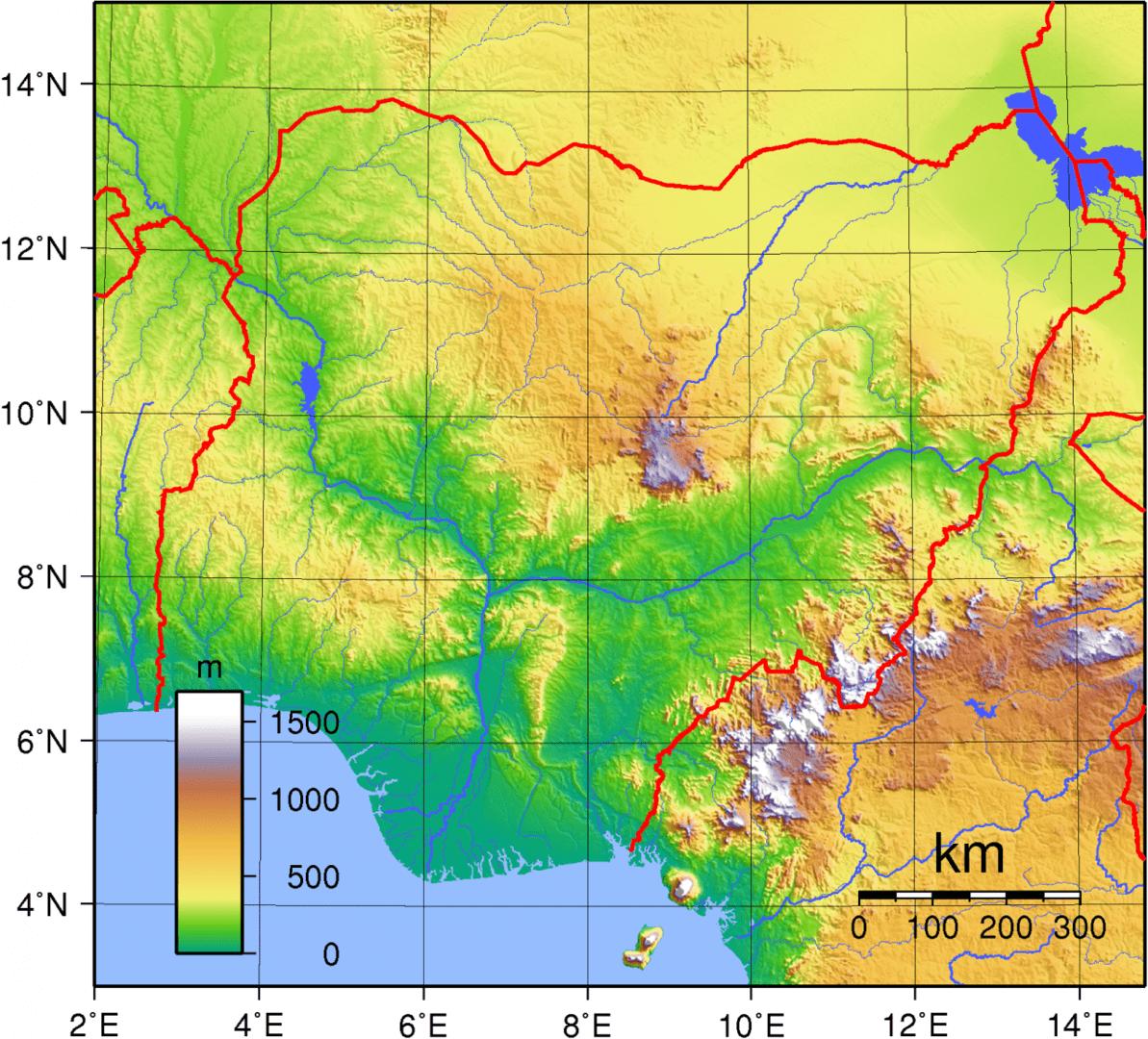 Mapa topograficzna Nigerii
