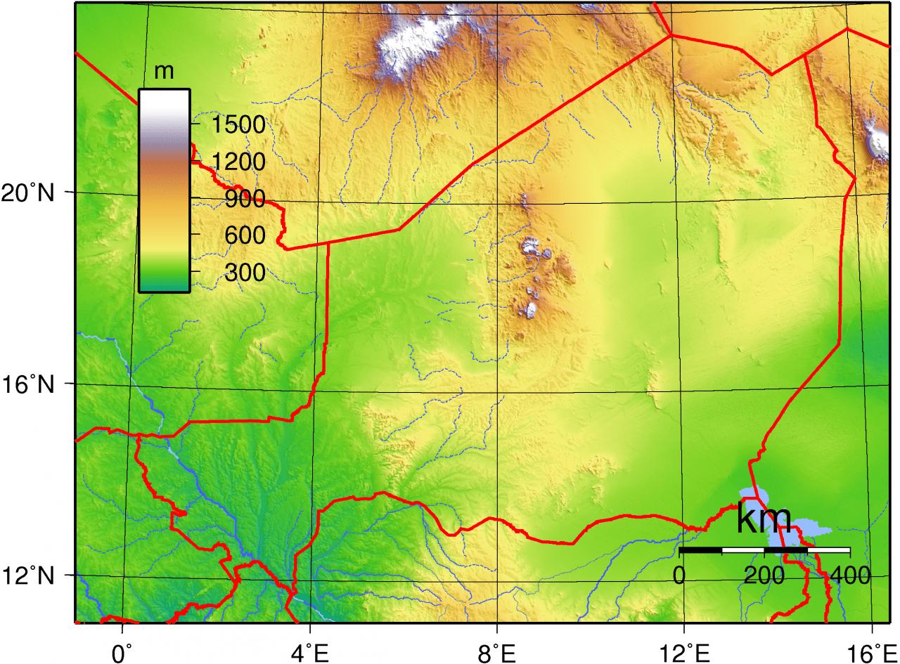 Mapa topograficzna Nigru