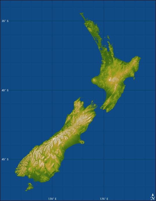 Mapa topograficzna Nowej Zelandii