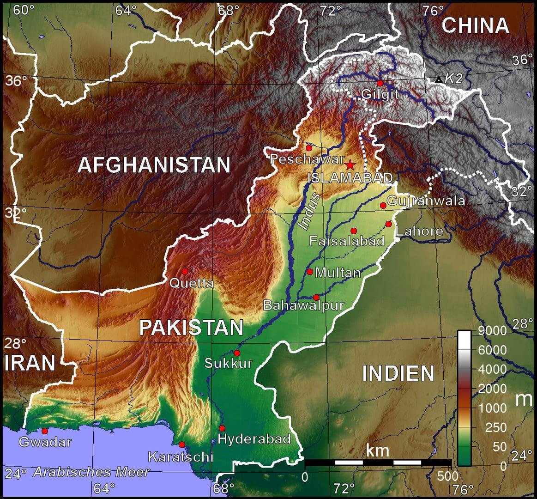 Mapa topograficzna Pakistanu