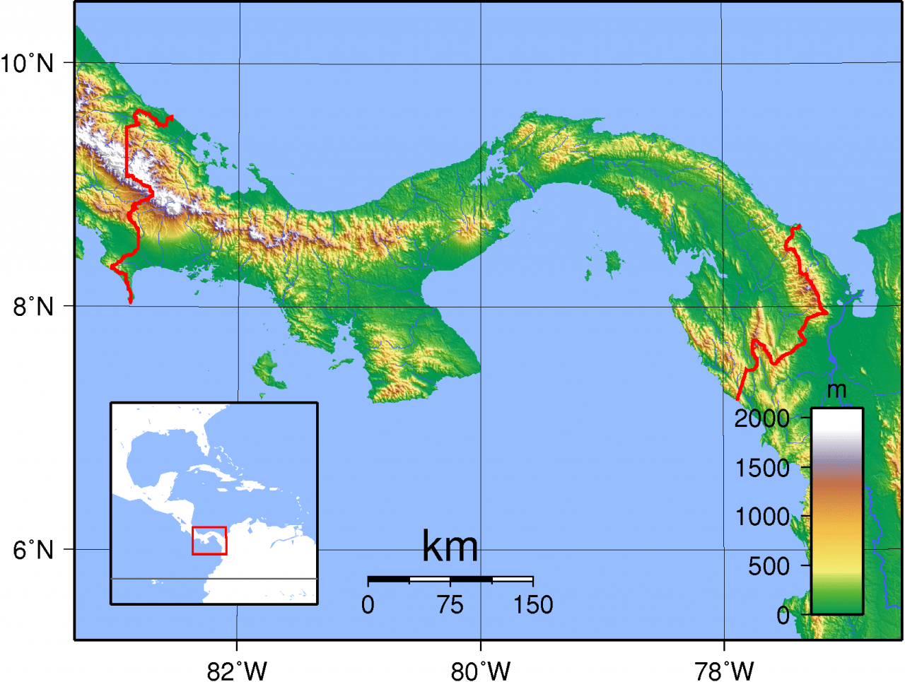 Mapa topograficzna Panamy