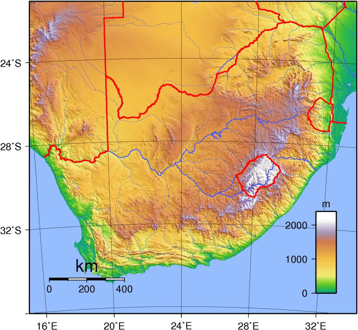 Mapa topograficzna Republiki Południowej Afryki