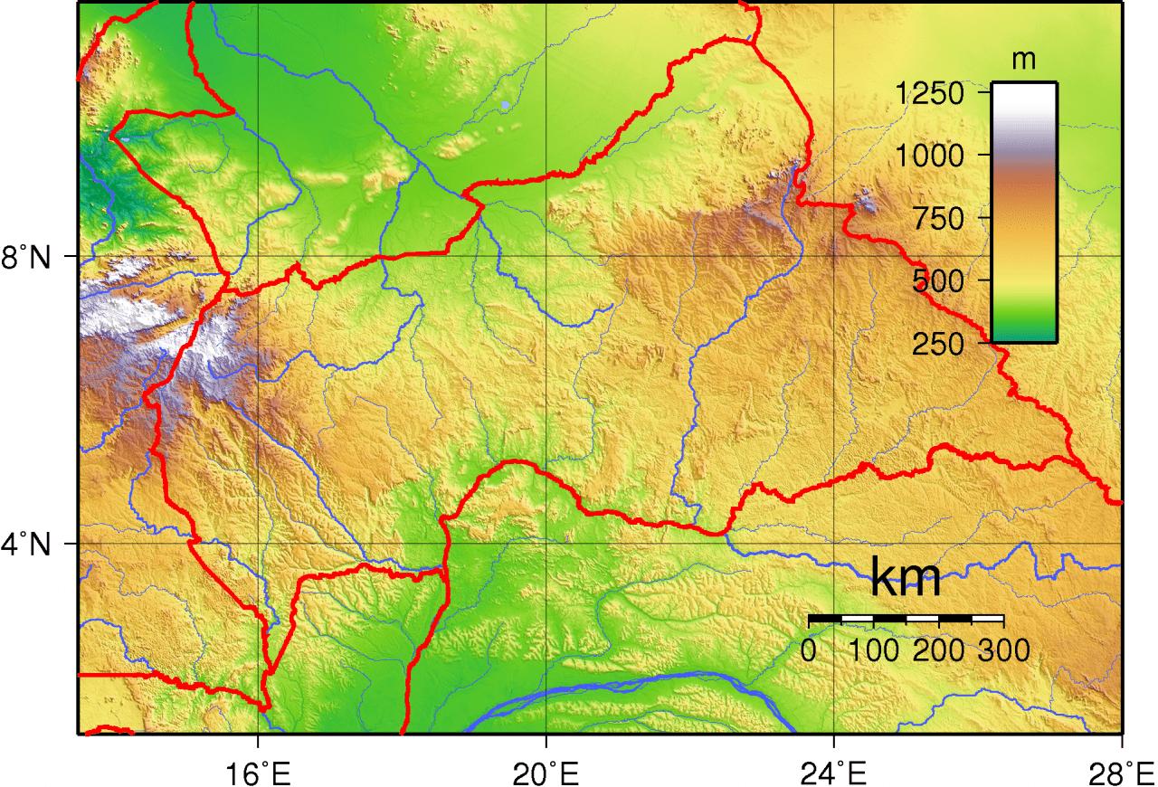 Mapa topograficzna Republiki Środkowoafrykańskiej