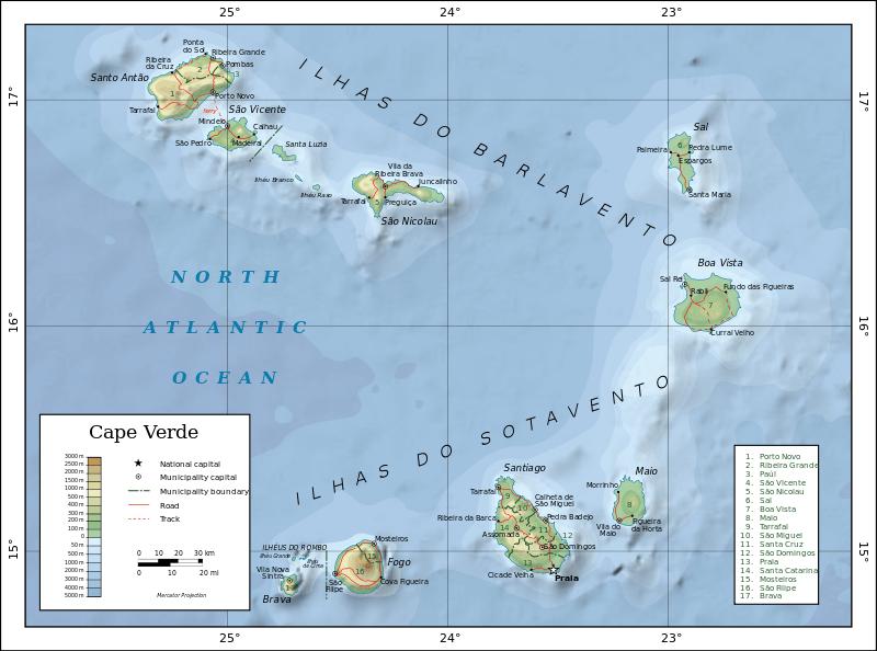 Mapa topograficzna Republiki Zielonego Przylądka