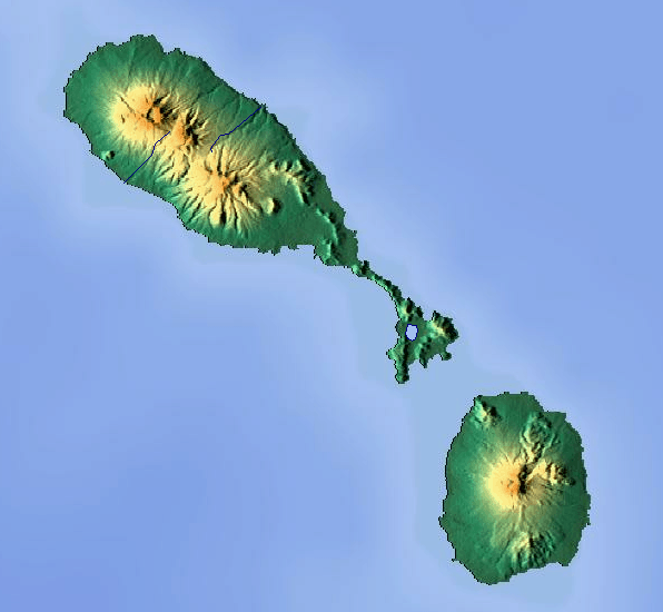 Mapa topograficzna Saint Kitts i Nevis
