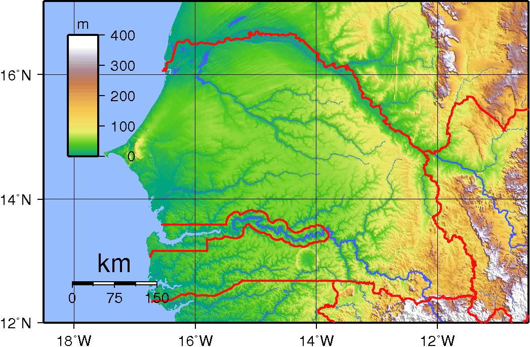 Mapa topograficzna Senegalu