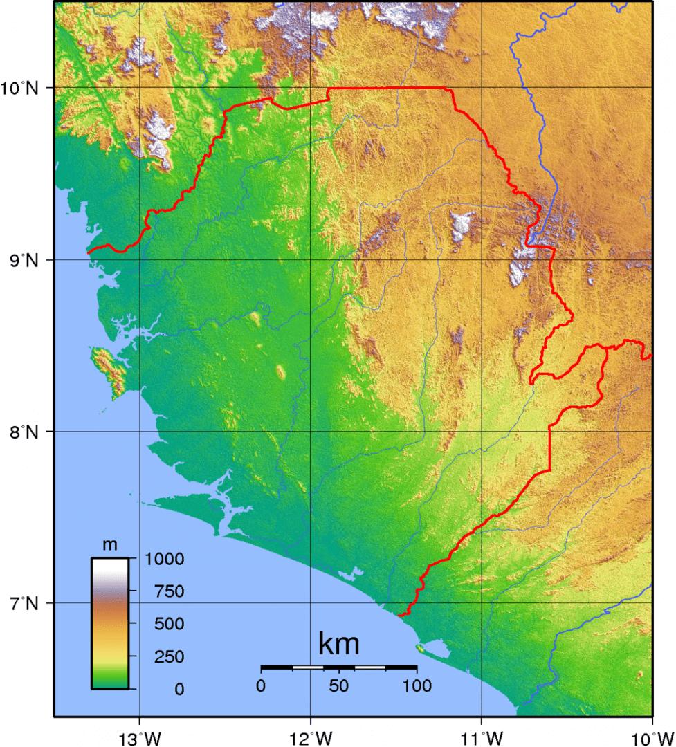 Mapa topograficzna Sierra Leone