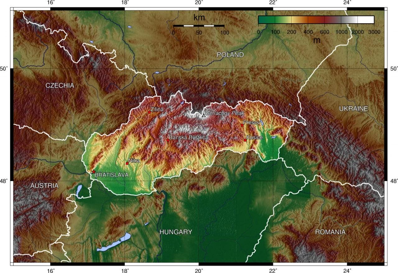 Mapa topograficzna Słowacji