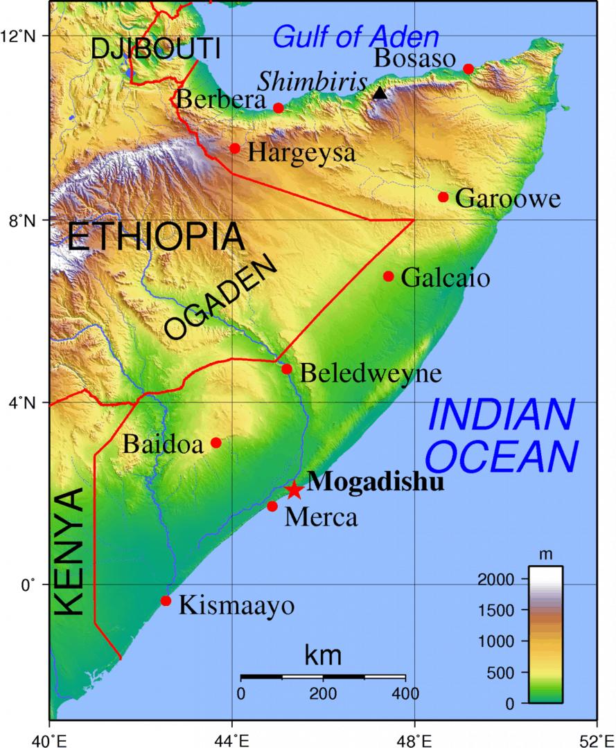 Mapa topograficzna Somalii