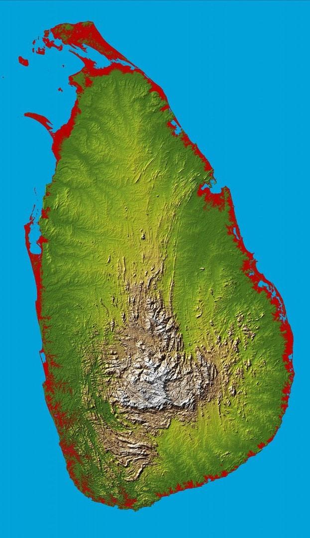 Mapa topograficzna Sri Lanki