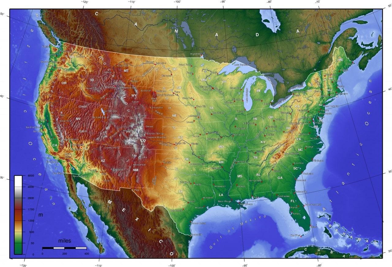Mapa topograficzna Stanów Zjednoczonych