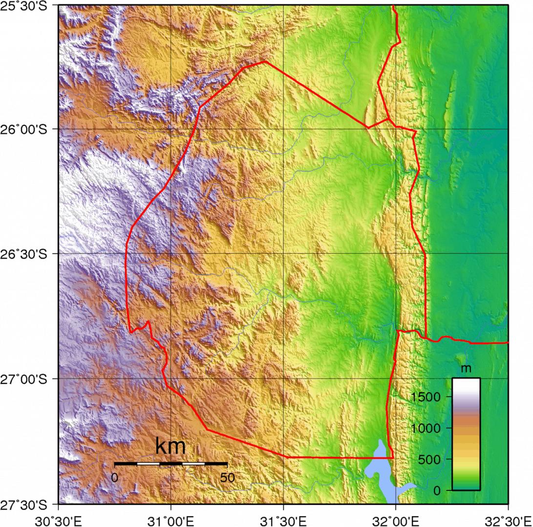 Mapa topograficzna Suazi