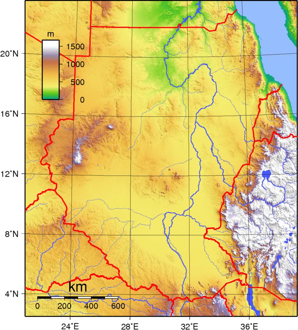 Mapa topograficzna Sudanu