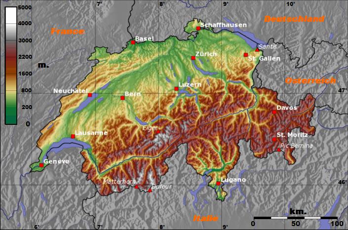 Mapa topograficzna Szwajcarii