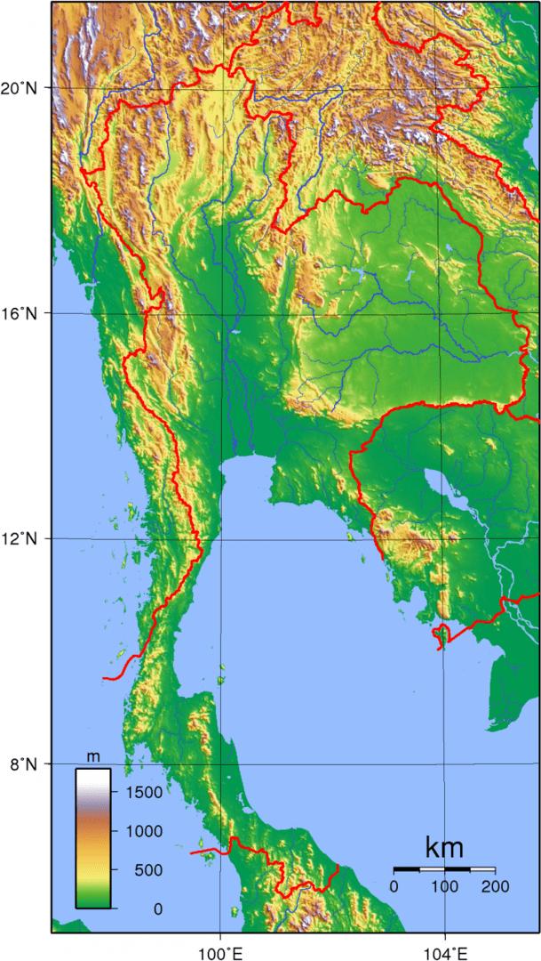 Mapa topograficzna Tajlandii