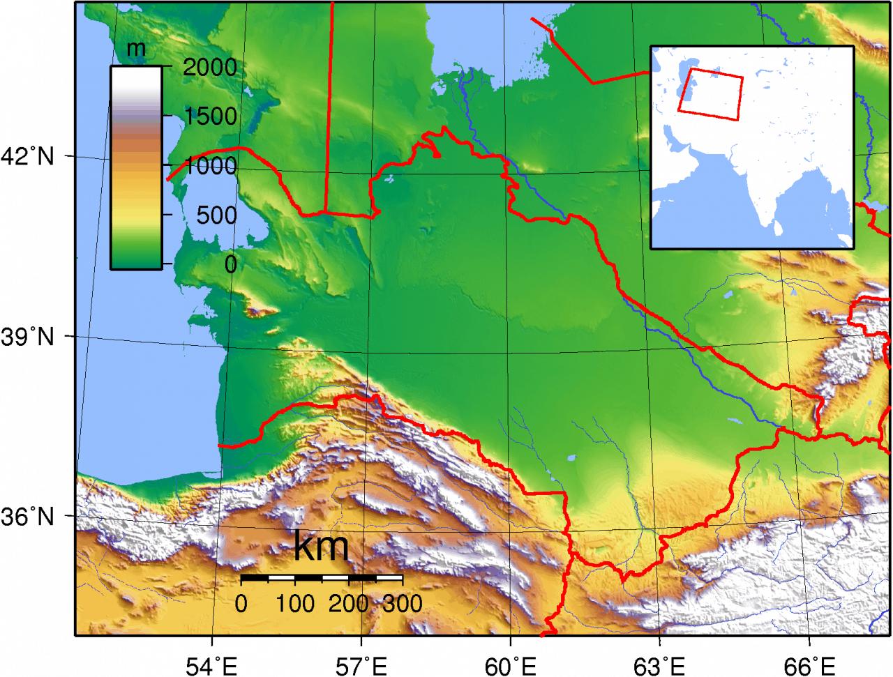 Mapa topograficzna Turkmenistanu