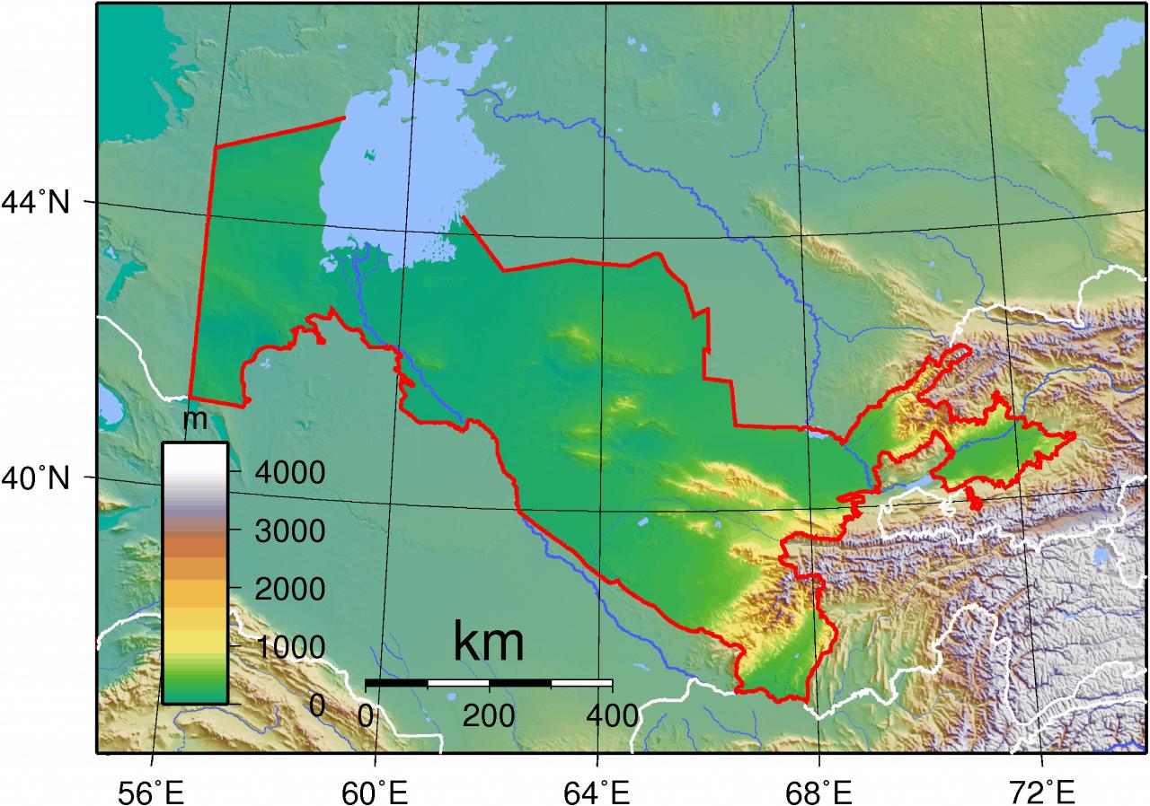 Mapa topograficzna Uzbekistanu