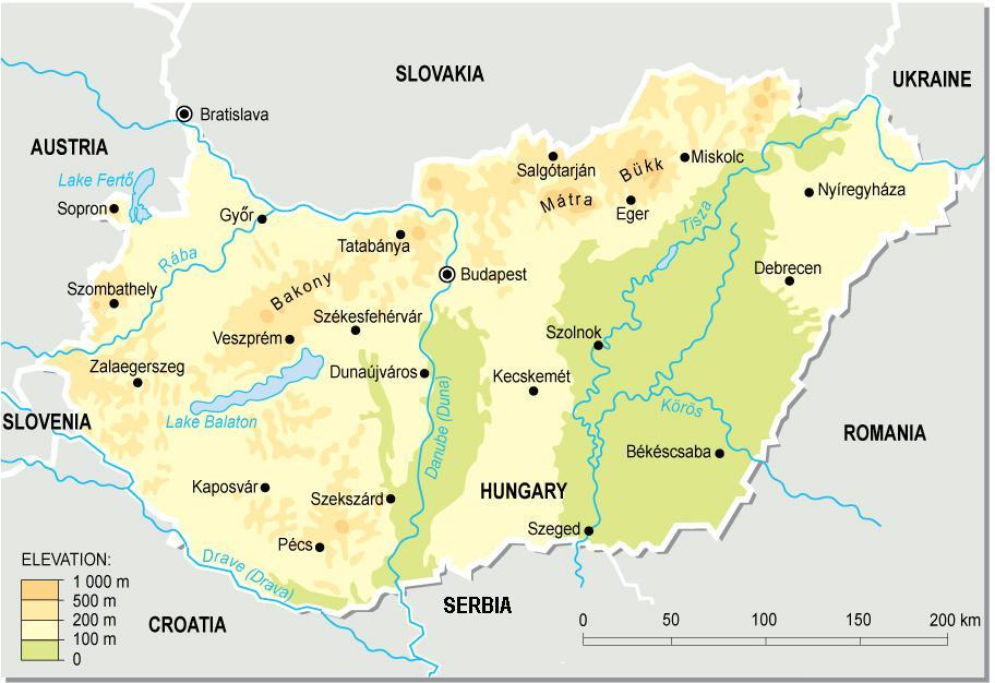 Mapa topograficzna Węgier