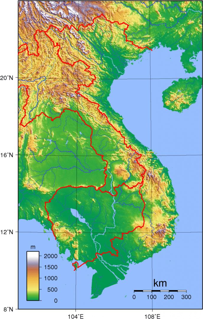 Mapa topograficzna Wietnamu