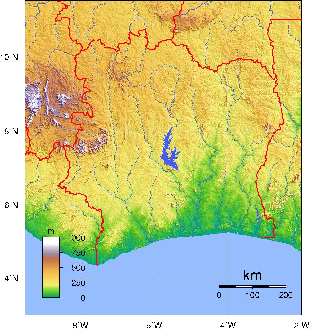 Mapa topograficzna Wybrzeża Kości Słoniowej