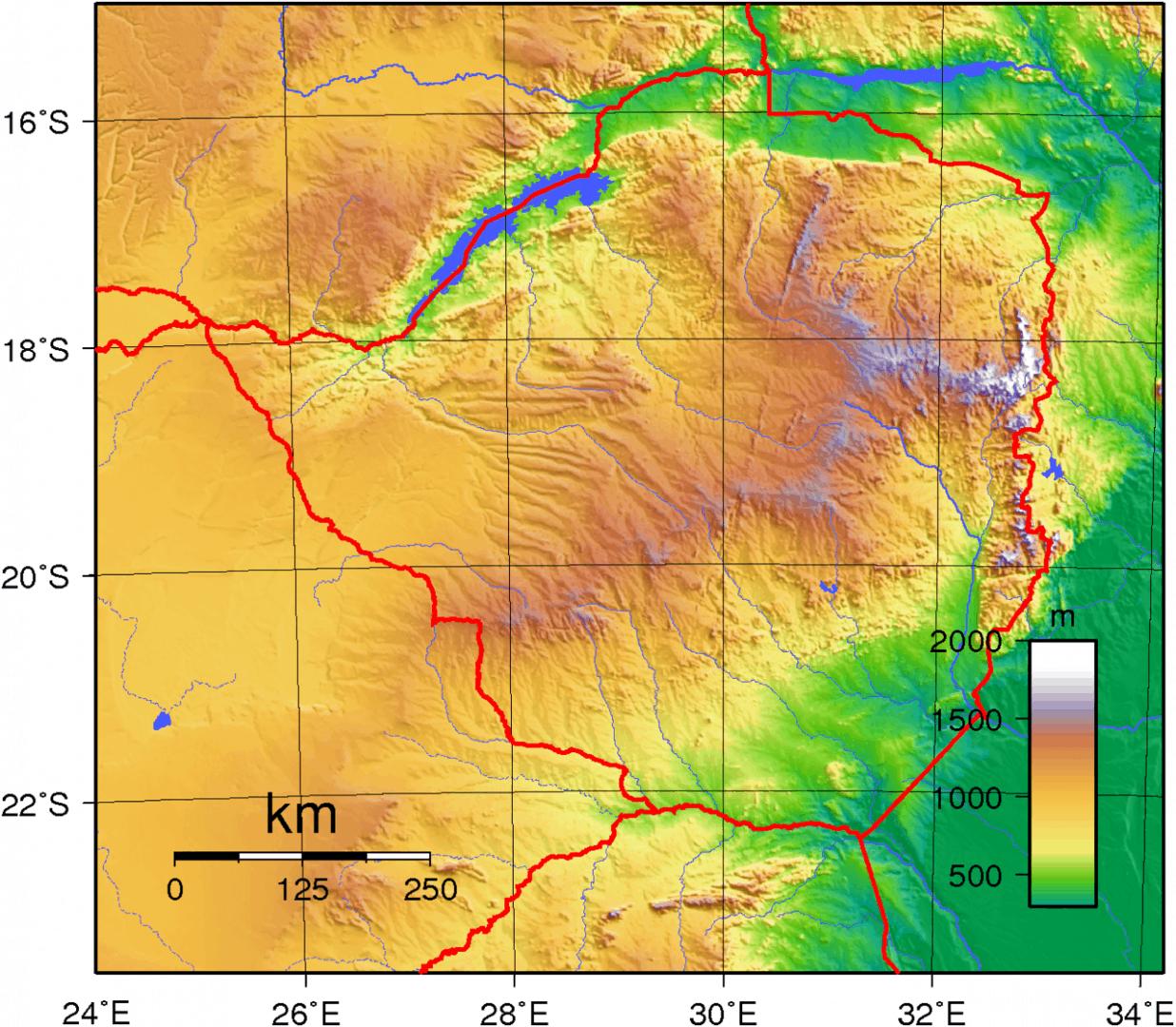 Mapa topograficzna Zimbabwe