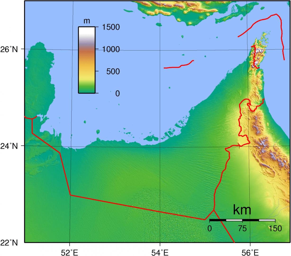Mapa topograficzna Zjednoczonych Emiratów Arabskich
