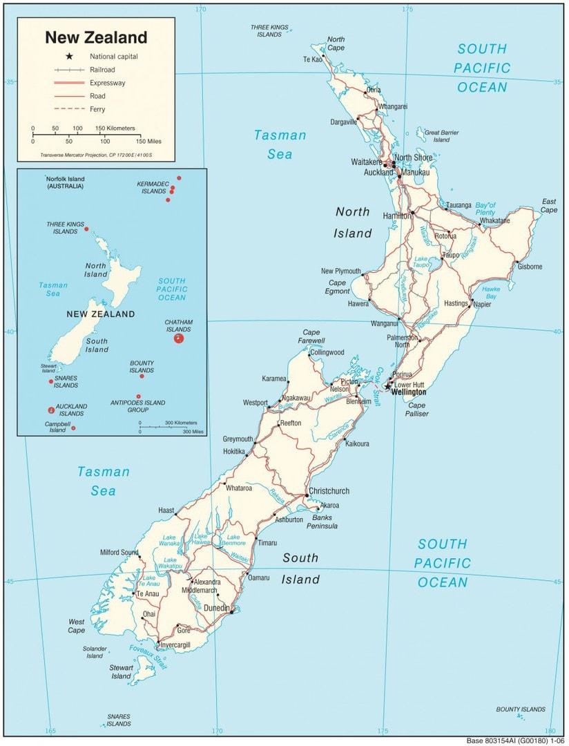 Mapa transportowa Nowej Zelandii