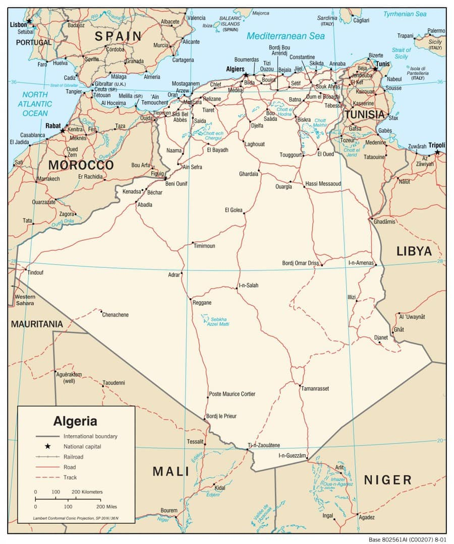 Mapa transportowa Algierii