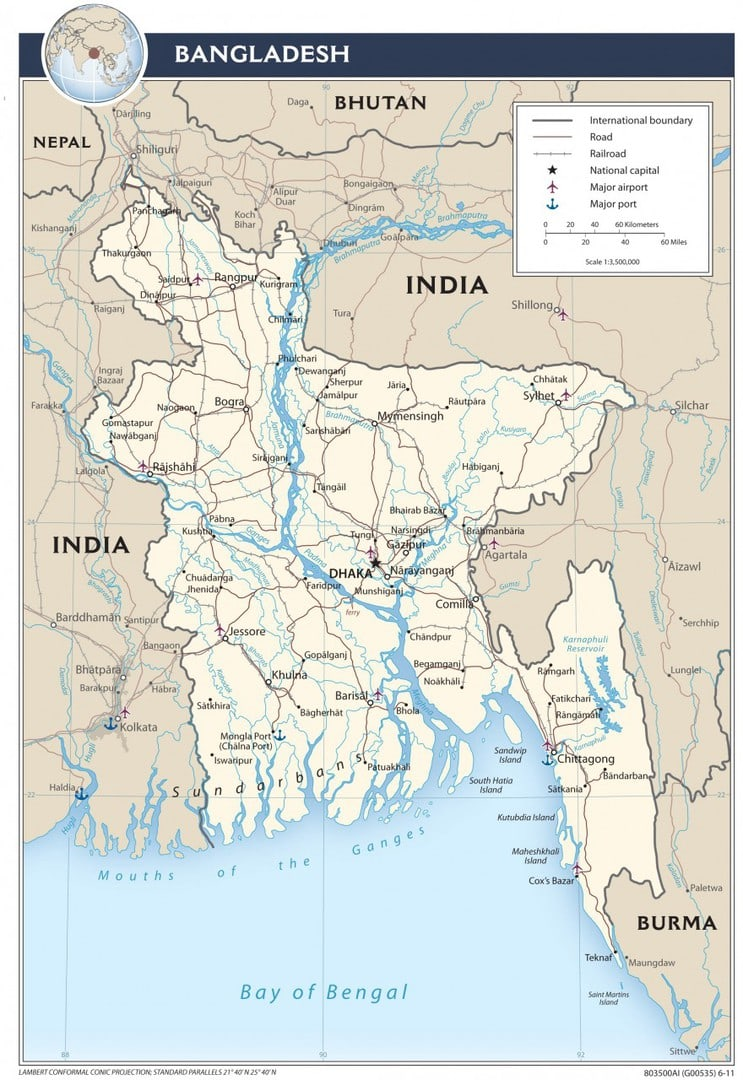 Mapa transportowa Bangladeszu