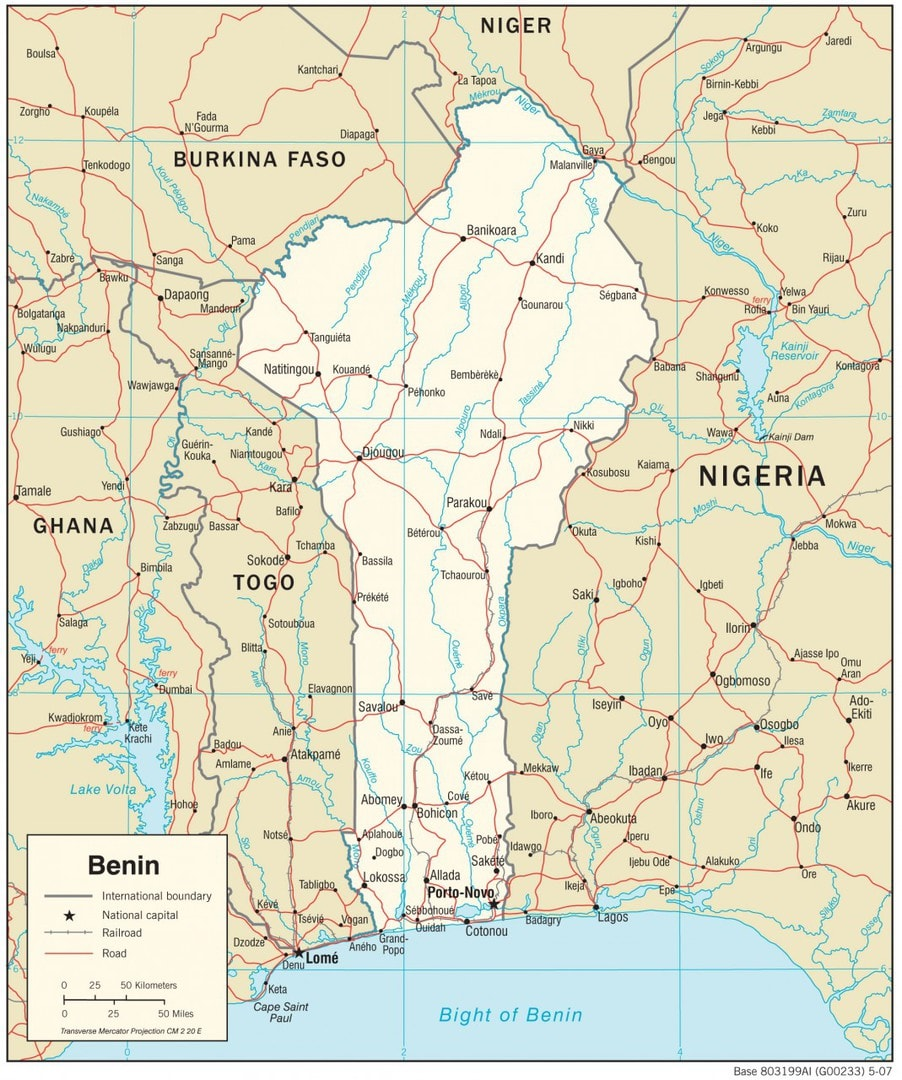 Mapa transportowa Beninu