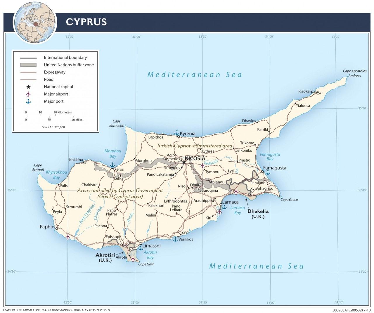 Mapa transportowa Cypru