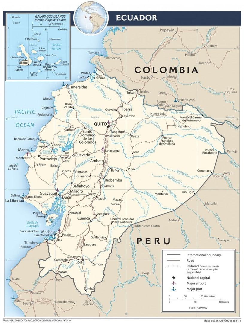Mapa transportowa Ekwadoru