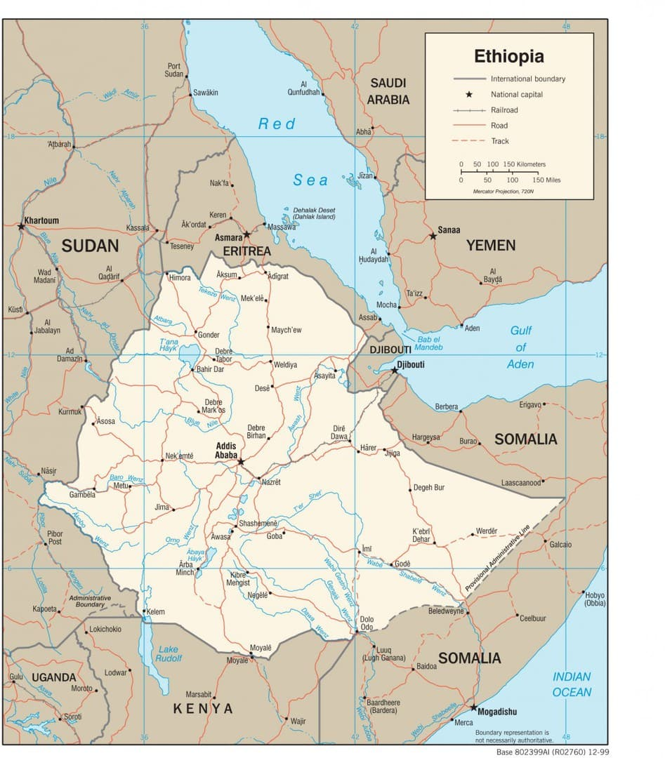 Mapa transportowa Etiopii