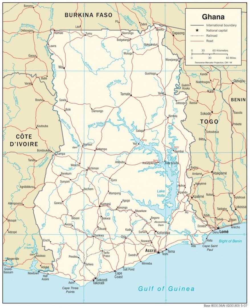 Mapa transportowa Ghany