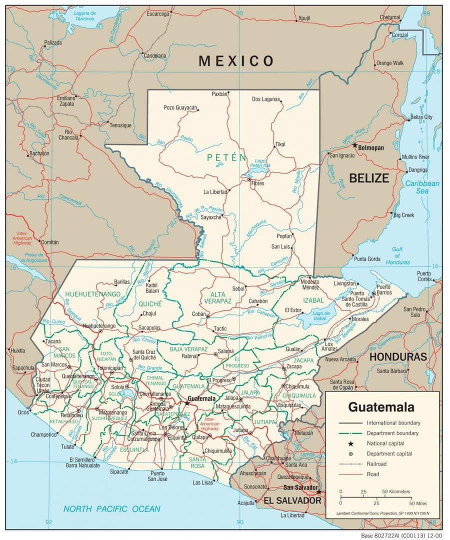 Mapa transportowa Gwatemali