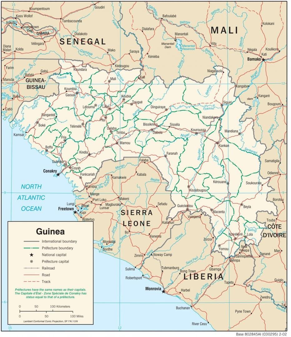 Mapa transportowa Gwinei