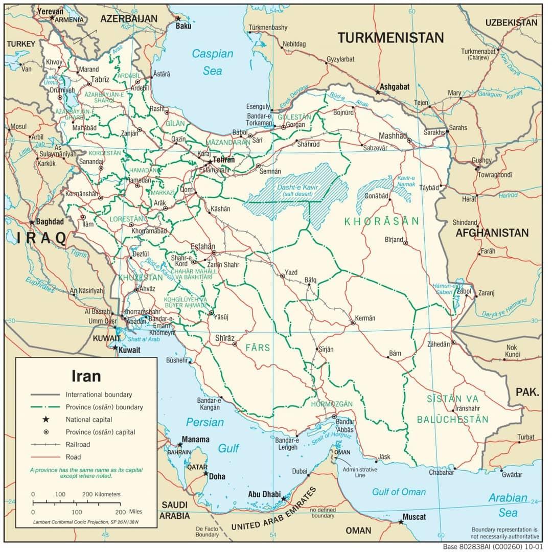 Mapa transportowa Iranu