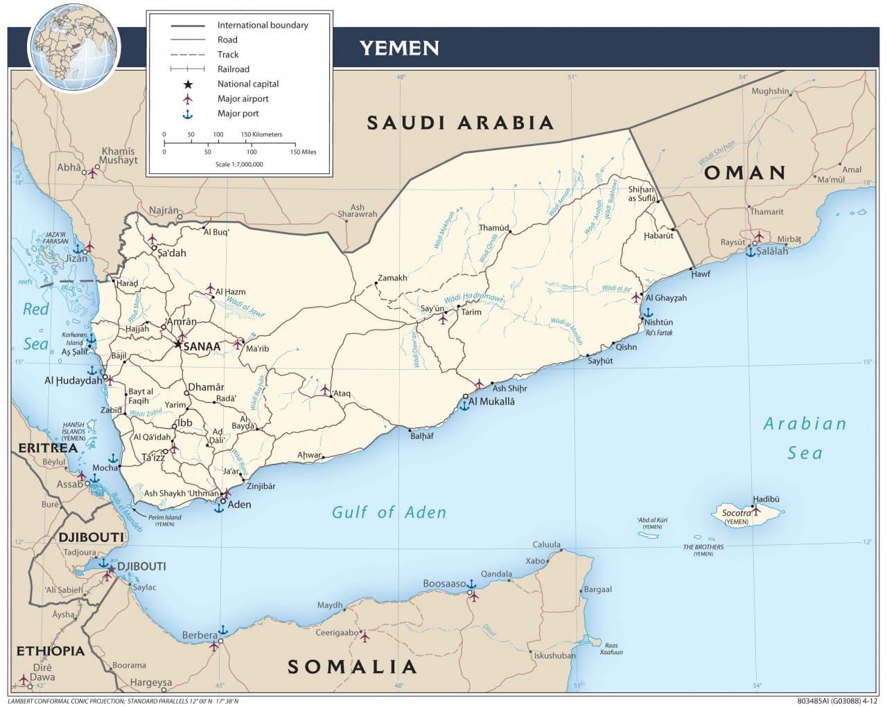 Mapa transportowa Jemenu
